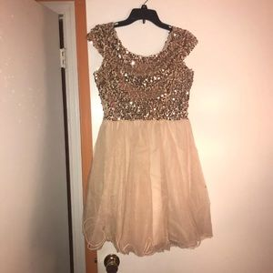Short Homecoming or Prom Dress that is Tan & Gold